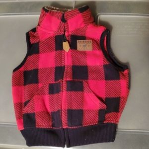 Carter's red and black plaid vest size 3 months